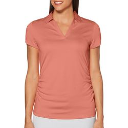 PGA TOUR Womens Airflux Solid Short Sleeve Polo Shirt