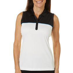 PGA TOUR Womens Center Back Stripe Sleeveless Polo Shirt