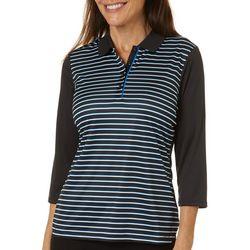PGA TOUR Womens Striped Three Quarter Sleeve Polo Shirt