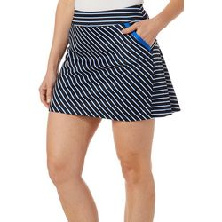 Womens Striped Flounce Pull On Skort