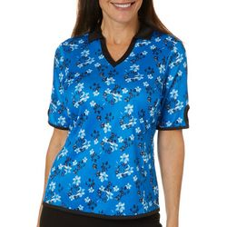 PGA TOUR Womens Floral Keyhole Sleeve Polo Shirt