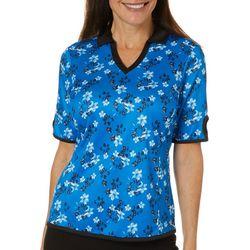 Womens Floral Keyhole Sleeve Polo Shirt
