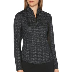 Womens Floral Zip Placket Long Sleeve Polo Shirt