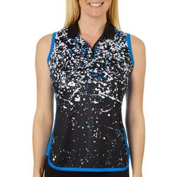 Womens Sleeveless Splatter Print Polo Shirt