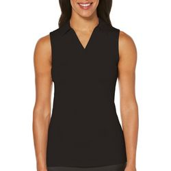 PGA TOUR Womens AirFlux Solid Sleeveless Polo Shirt