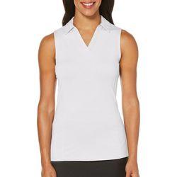 PGA TOUR Womens AirFlux Solid Sleeveless Polo Shirt