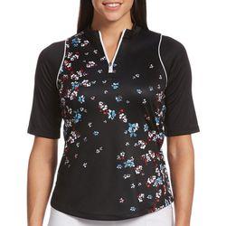 Womens Floral Half Zippered Shirt