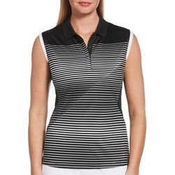 PGA TOUR Womens Thin Striped Sleeveless Polo Shirt