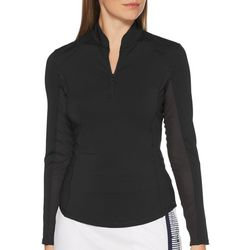 Womens Solid Zip Placket Long Sleeve Polo Shirt
