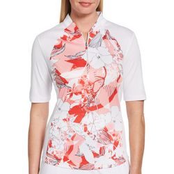 PGA TOUR Womens Floral Zip Placket Shirt