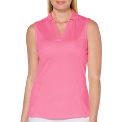 PGA TOUR Womens Solid Sleeveless Polo Shirt