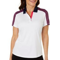 Womens Colorblock Short Sleeve Polo Shirt