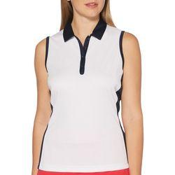 Womens Solid Contrast Trim Sleeveless Polo Shirt