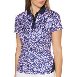 Womens Abstract Short Sleeve Polo Shirt