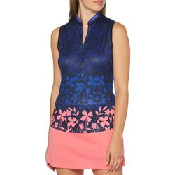 PGA TOUR Womens Floral Mandarin Collar Sleevless Shirt