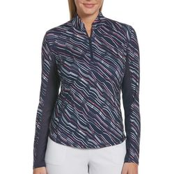 Womens Abstract Print Long Sleeve Polo Shirt