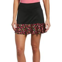 Womens Solid Skort With Floral Trim