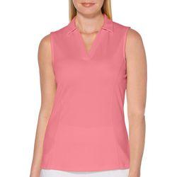 PGA TOUR Womens Solid Sleeveless Shirt
