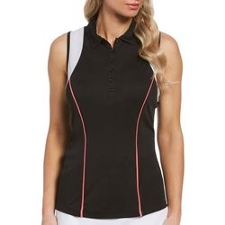 PGA TOUR Womens Solid With Colorblock Sleeveless Shirt