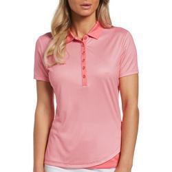 Womens Solid Short Sleeve Polo Shirt