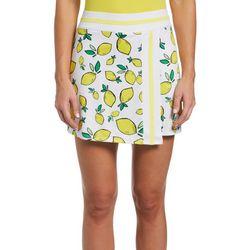 PGA TOUR Womens Lemon Printed Knit Solid Skort