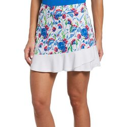 PGA TOUR Womens Floral And White Block Patterned Skort