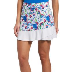Womens Floral And White Block Patterned Skort