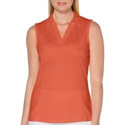 Womens Solid Sleeveless Golf Shirt