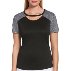 PGA TOUR Womens V-Neck Solid Polo Striped Sleeve Detail