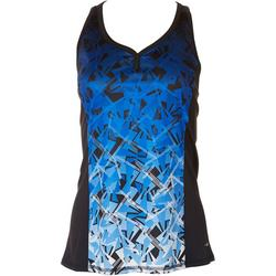 Womens Geometric Button Racerback Tank