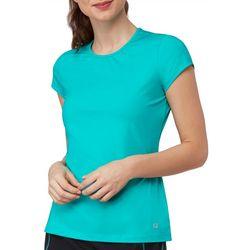 Fila Womens Court Allure Solid Cap Sleeve Active T-Shirt