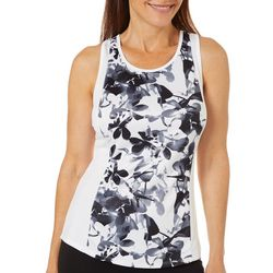 Grand Slam Womens Floral Print Racerback Tank Top