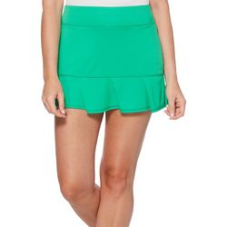 Grand Slam Womens Solid Ruffle Hem Skort