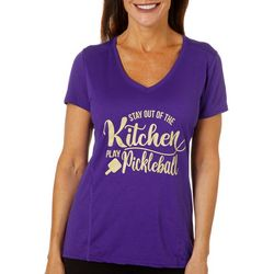 Womens Stay Out Of The Kitchen Play Pickleball T-Shirt