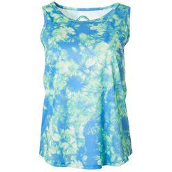 Womens Tie Dye Keyhole Sleeveless Pickleball Shirt