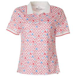 Dink Up Womens Pickleball Print Short Sleeve Polo Shirt