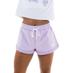 Womens Solid Roll Cuff Branded Shorts