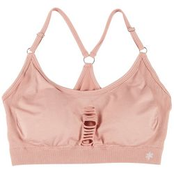 Splendid Womens Solid Distressed Sports Bra