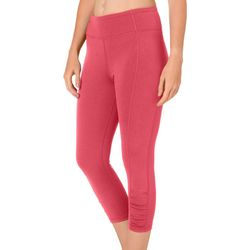 Brisas Womens Solid Ruched Front Capri Leggings
