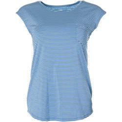 Womens Striped Chest Pocket Cap Sleeve Top
