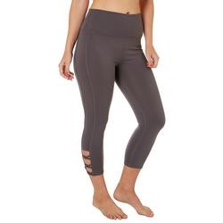Womens Solid Knot Detail Capri Leggings