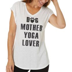 Womens Dog Mother Yoga Lover V-Neck T-Shirt