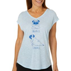 Womens Ruched Sleeve Yoga Graphic V-Neck T-Shirt
