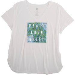 Brisas Womens Peace, Love, Unity Short Sleeve Shirt