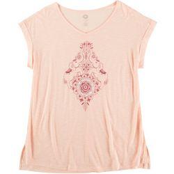 Brisas Womens Scoop Neck Print Short Sleeve Top