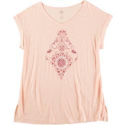 Womens Scoop Neck Print Short Sleeve Top