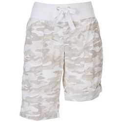 Calvin Klein Womens Camo Pull On Rolled Shorts