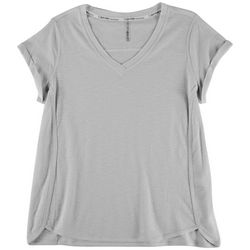 Calvin Klein Womens Solid Cuffed Sleeve Top