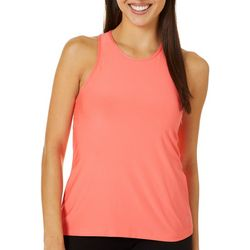 Womens Solid Mesh Back Tank Top