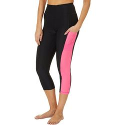 Womens Solid Mesh Panel Performance Capris